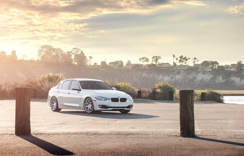 Фото обои Закат, BMW, Белая, БМВ, 328i, F30, Sedan