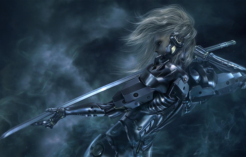 Фото обои девушка, меч, катана, киборг, Metal Gear Solid