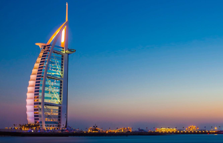 Обои city, lights, Dubai, sky, sea, landscape, sunset, skyscraper ...