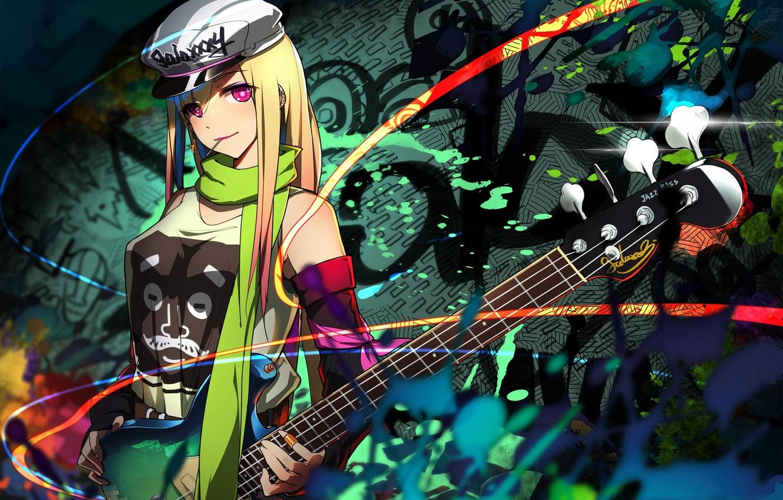 Фото обои девушка, абстракция, гитара, арт, erkelee