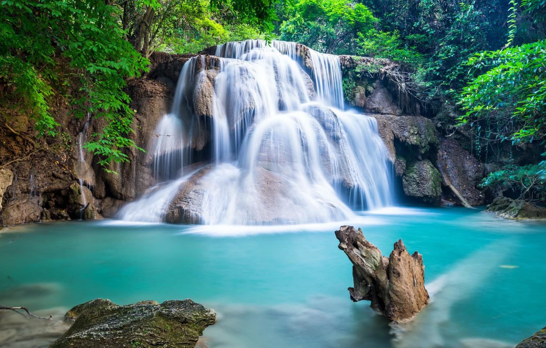 Фото обои лес, река, водопад, forest, river, landscape, waterfall, emerald
