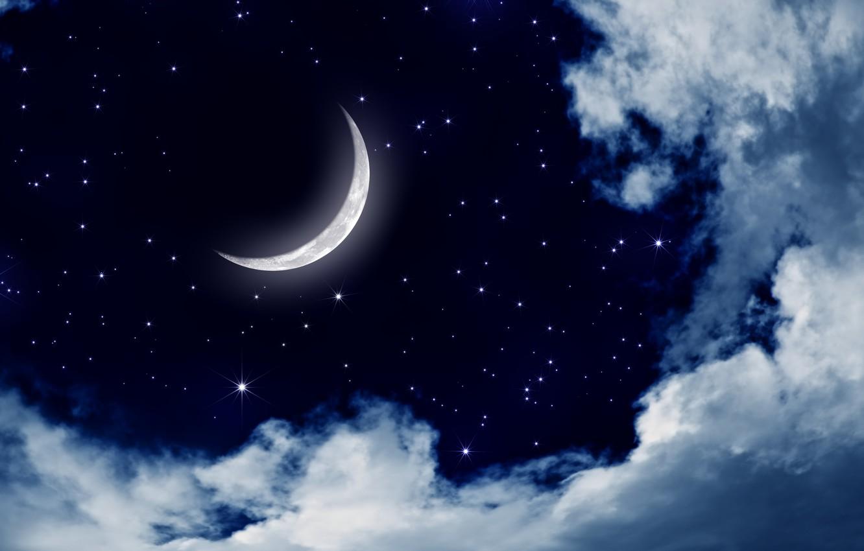 Фото обои небо, звезды, облака, пейзаж, ночь, природа, луна, moon, sky, landscape, nature, night, clouds, stars, moonlight, …
