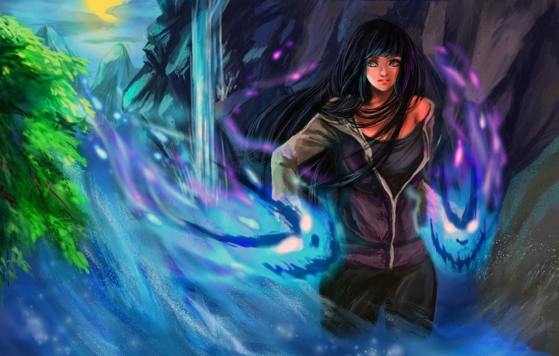 Фото обои вода, девушка, дерево, магия, водопад, дух, арт, naruto, rikamello, hyuuga hinata