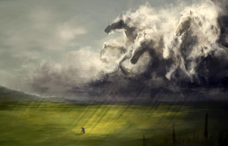 Фото обои поле, девушка, облака, лучи, дождь, фигура, лошади, арт, табун