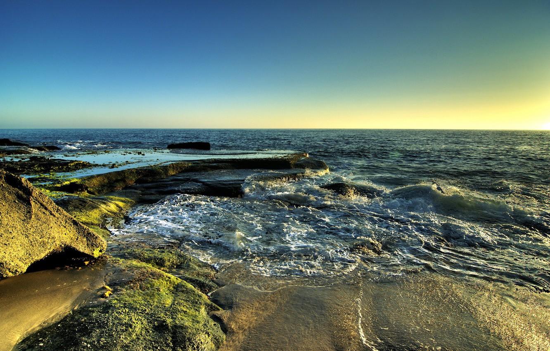 Фото обои песок, море, волны
