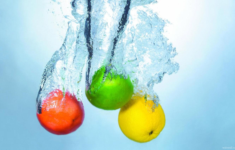 Фото обои вода, яблоко, лайм, лемон