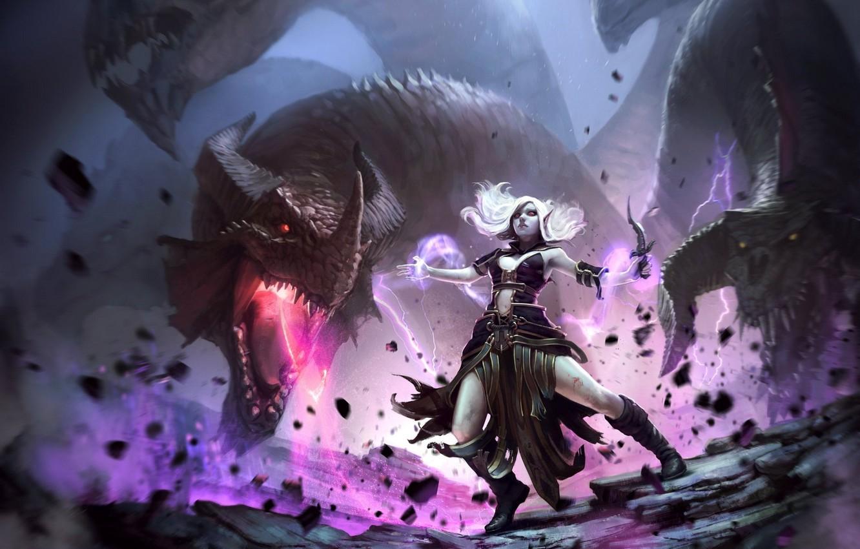 Фото обои девушка, дракон, ритуал, фэнтези, маг, кинжал, girl, fantasy, дроу, dragon, темный эльф, dark elf, mage, …
