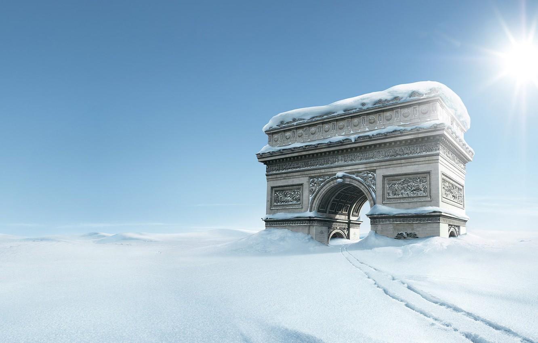 Фото обои зима, снег, тропа, арка