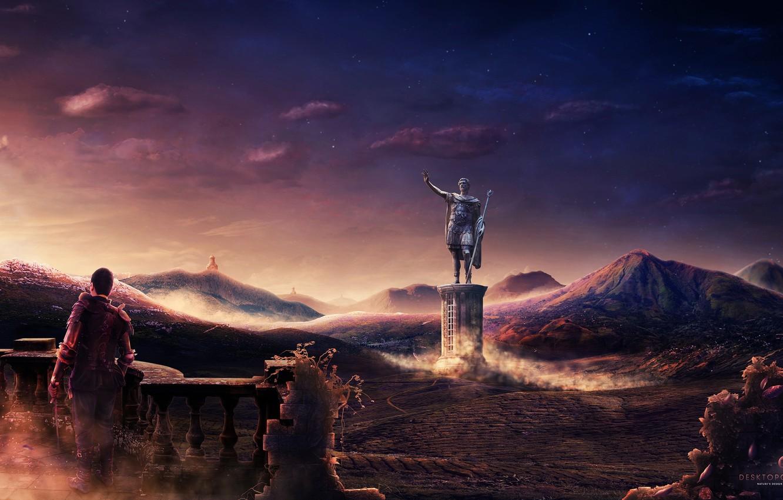 Обои статуя, Человек, Desktopography, ночь. Разное foto 6