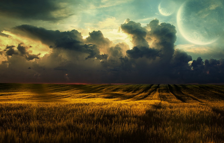 Фото обои пшеница, поле, облака, пейзаж, природа, clouds, fields