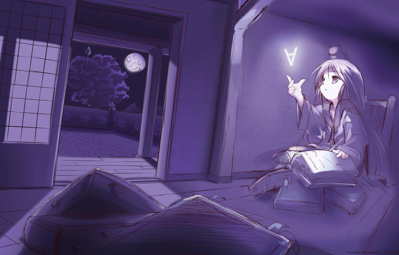 Фото обои ночь, магия, книги, аниме, арт, девочка, Fujiwara Warawara