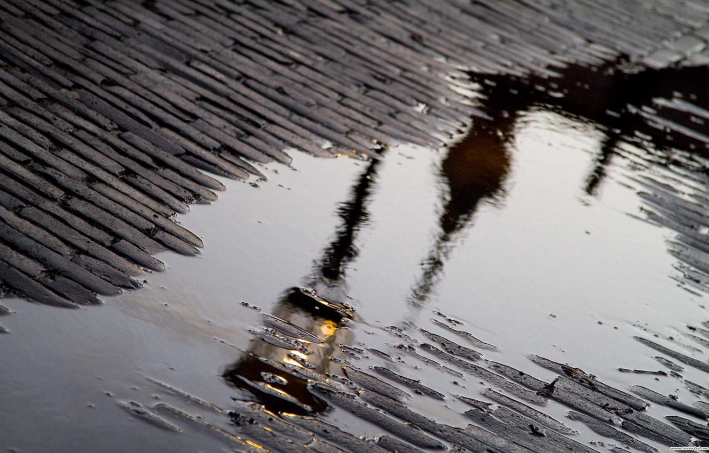 Обои лужа, дождь, мостовая. Города foto 6
