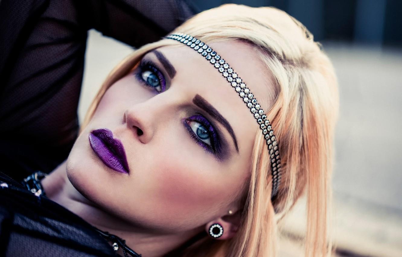 Фото обои девушка, макияж, fashion, Gothic, Purple Makeup