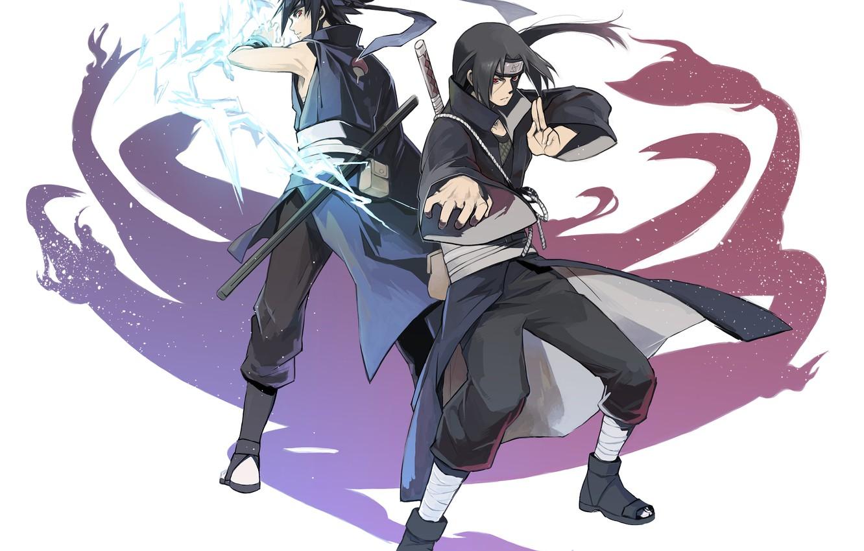 Фото обои naruto, art, brothers, Itachi Uchiha, Uchiha, Sasuke Uchiha