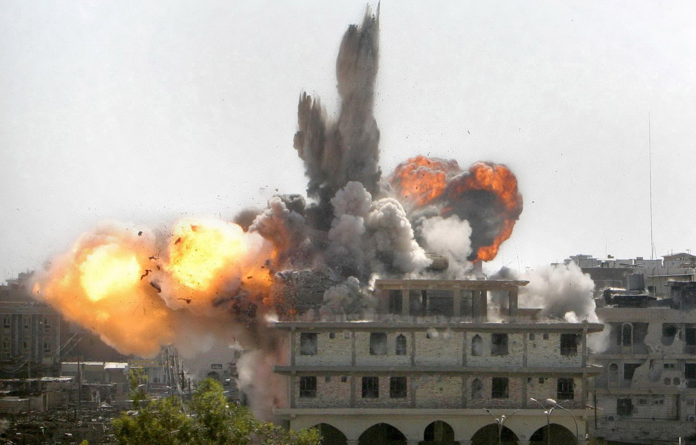 Фото обои взрыв, огонь, здание