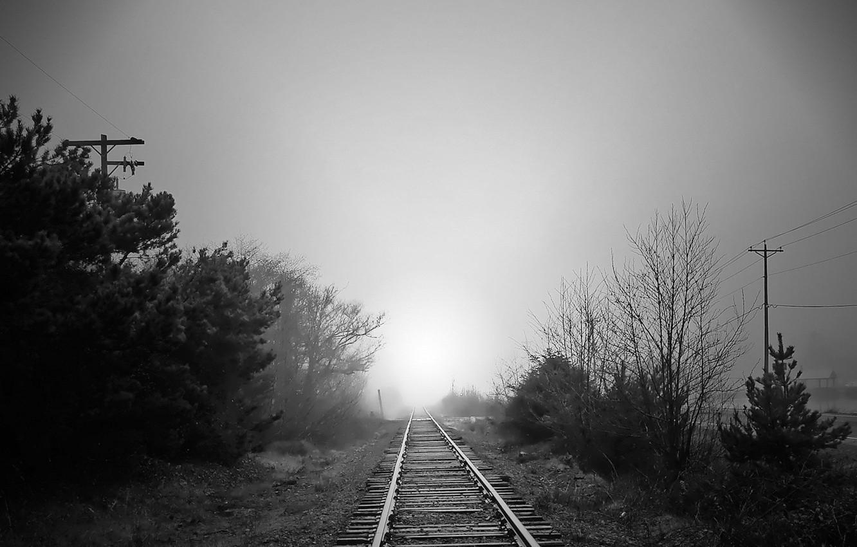 Фото обои дорога, туман, Черно-белая, железная, 157
