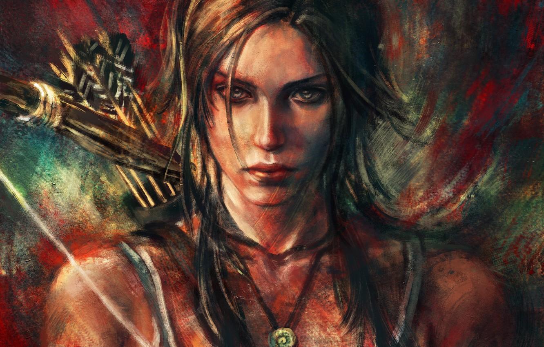 Фото обои девушка, лук, арт, стрелы, lara croft, tomb raider, alicexz