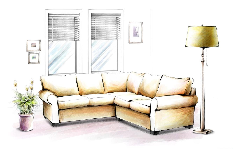 Фото обои цветок, диван, обои, рисунок, лампа, окно, картины