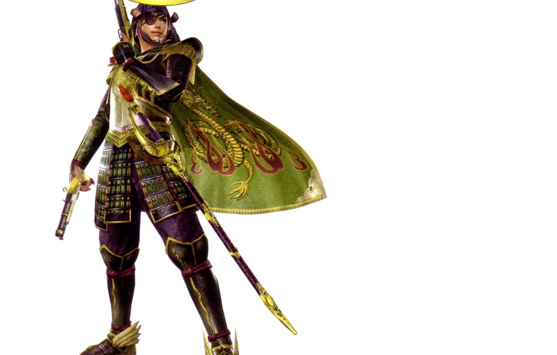 Фото обои пистолет, меч, доспехи, самурай, белый фон, шлем, эмблема, плащ, ножны, повязка на глаз, Sengoku Basara, …