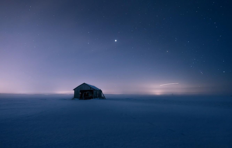 Фото обои поле, снег, ночь, дом