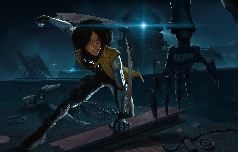 Фото обои девушка, ночь, оружие, механизм, робот, рука, киборг, андроид, клинки, gunnm, gally, battle angel alita