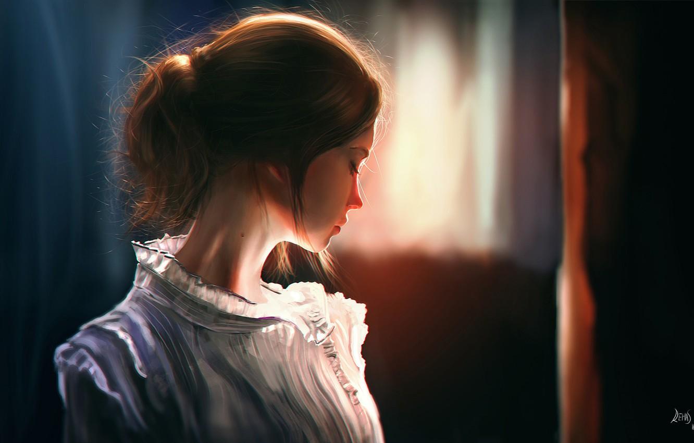 Фото обои девушка, свет, комната, волосы, арт, профиль