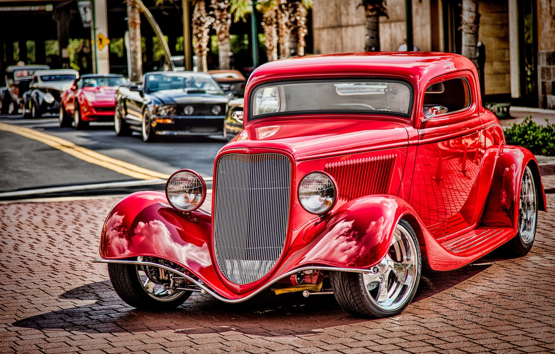 Фото обои красный, ретро, Ford, классика, 1934 Ford Coupe