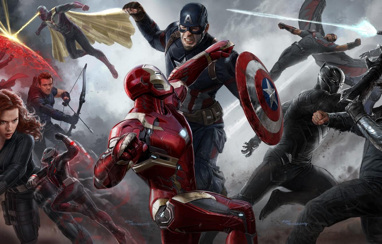 Фото обои Scarlett Johansson, Vision, art, Falcon, Captain America, Natasha Romanoff, Hawkeye, Jeremy Renner, Chris Evans, black …