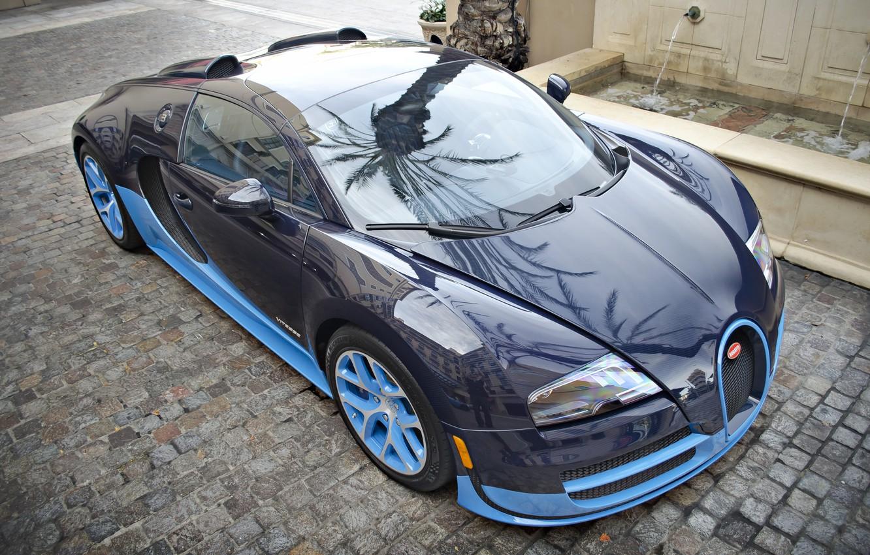 Фото обои Bugatti, Grand, Veyron, Blue, Sport, Supercar, Vitesse