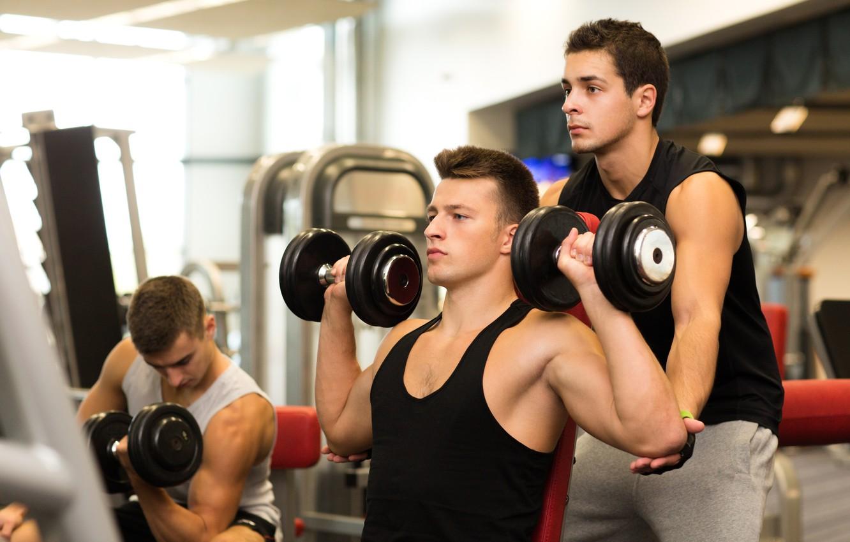 Фото обои gym, coach, dumbbells, weightlifting