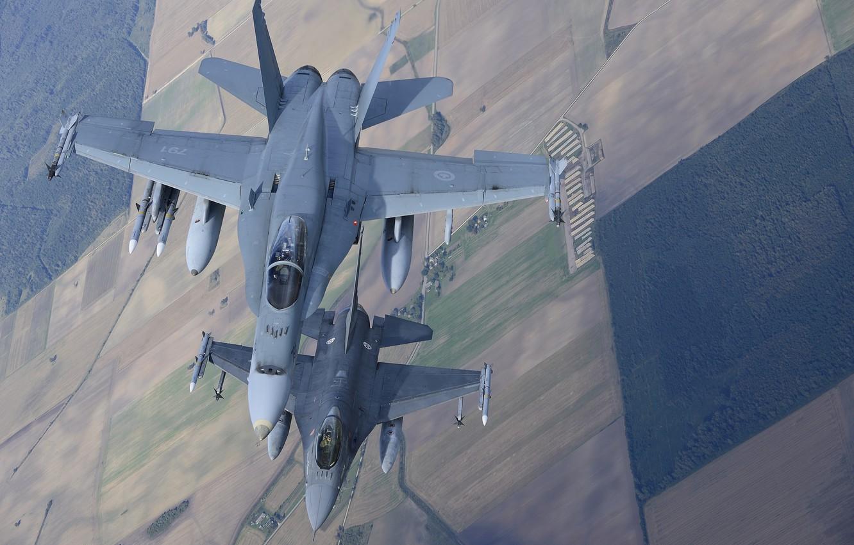 Фото обои полет, истребители, F-16, Fighting Falcon, Hornet, CF-18
