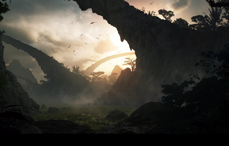 Фото обои rocks, birds, archland