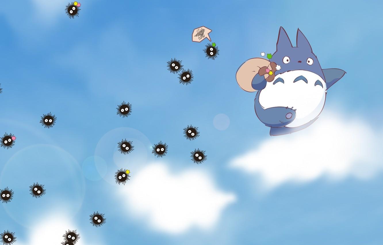 Фото обои небо, облака, аниме, мой сосед тоторо, унесенные призраками, My Neighbor Totoro, Spirited Away, Susuwatari