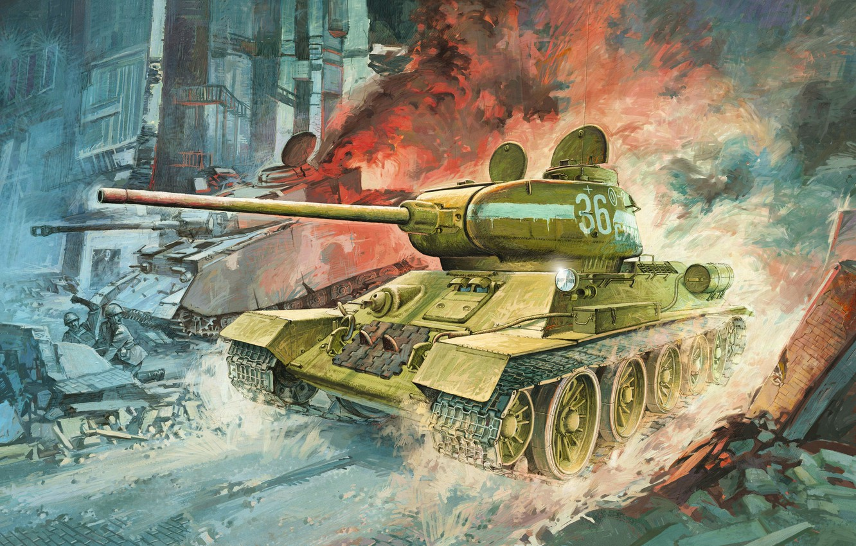 Фото обои рисунок, средний танк, ркка, Т-34/85