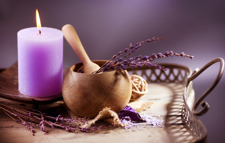 Фото обои свеча, Веточка, лаванда, сиреневый цвет, лопатка, горшочек
