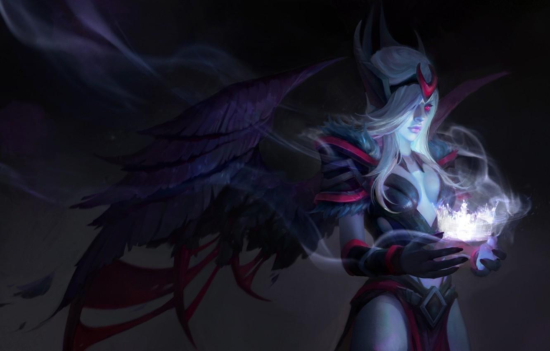 Фото обои девушка, крылья, корона, арт, Dota 2, Vengeful Spirit, Shendelzare
