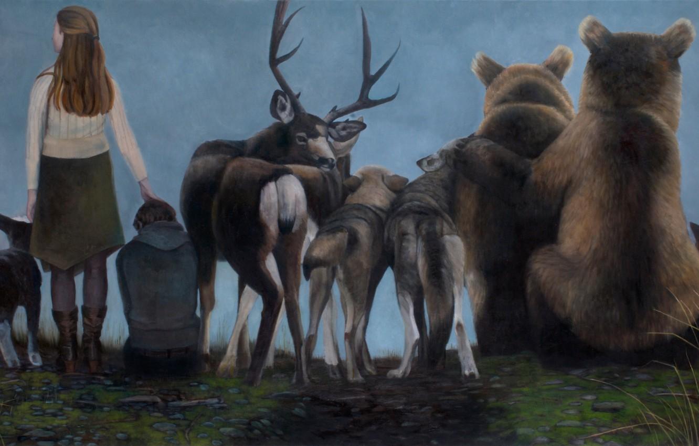 Фото обои картина, норвежский художник, Christer Karlstad, Spectators