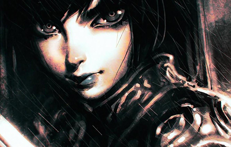 Фото обои взгляд, лицо, ливень, art, Илья Кувшинов