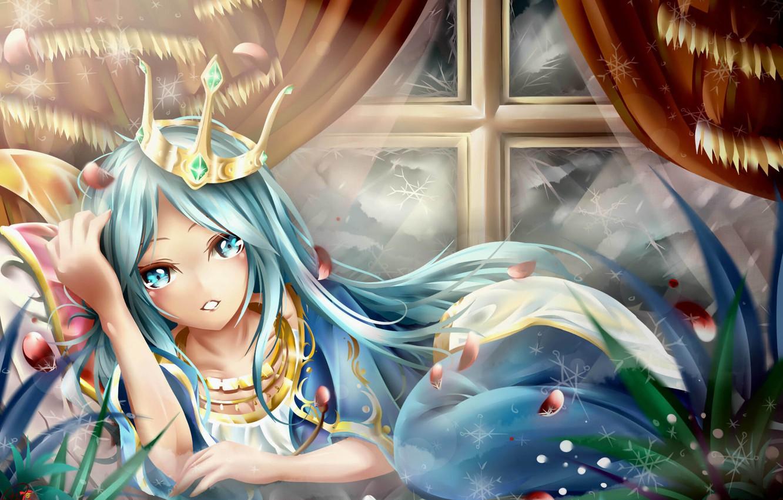 Фото обои трава, девушка, украшения, камни, корона, лепестки, арт, league of legends, ashe