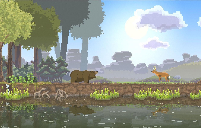 Фото обои лес, солнце, облака, деревья, природа, река, олень, медведь, forest, river, bear, trees, nature, clouds, sun, …