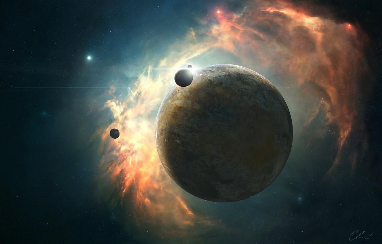 Фото обои энергия, космос, звезды, туманность, планета, свечение, арт, спутники