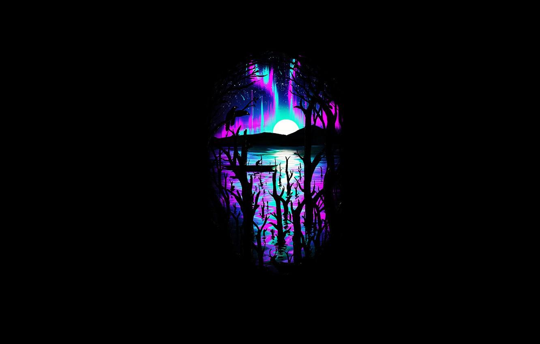 Фото обои деревья, ночь, краски, северное сияние, вороны