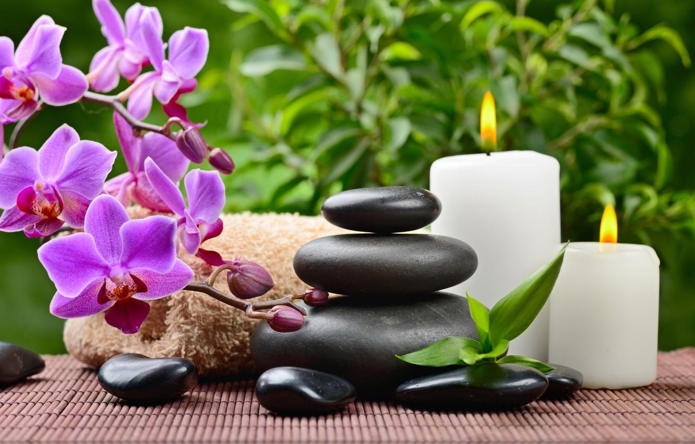 Обои листики, орхидея, спа камни, Полотенце. Разное foto 6