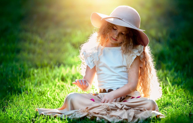 Фото обои солнце, девочка, шляпка, child photography, The beauty