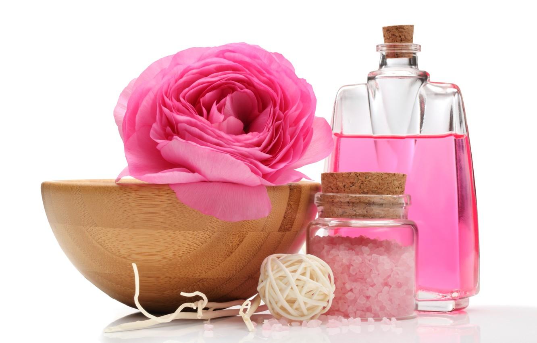 Обои морская соль, масло, цветы, ложка. Разное foto 8