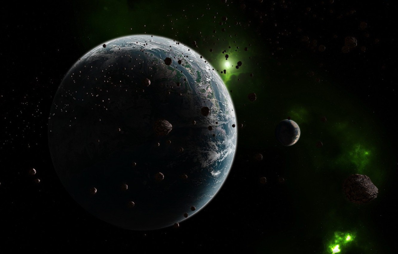 Фото обои космос, астероиды, Планета