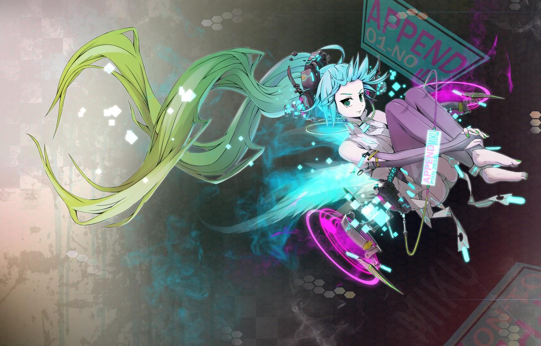Фото обои вокалоид, anime, синие волосы, аниме. мику, vokaloid