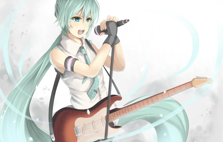 Фото обои девушка, гитара, аниме, арт, микрофон, Hatsune Miku, Vocaloid, Вокалоид