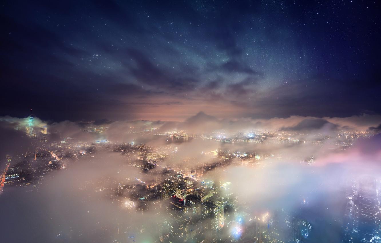 Фото обои облака, ночь, туманность, Нью-Йорк, звезд, Эмпайр Стейт Билдинг, Соединенные Штаты, космос город