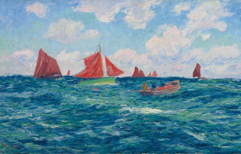Фото обои небо, облака, картина, лодки, парус, морской пейзаж, Henri Moret, Fishing Boats off the Coast